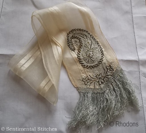 chain stitch embroidery on scarf