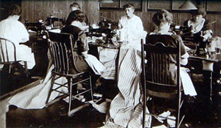 women sewing mattresses