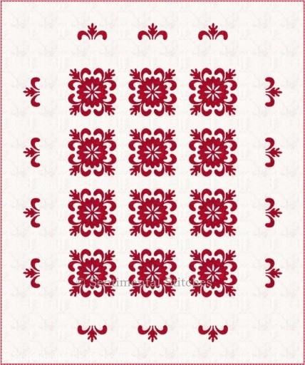 Snowflake Quilt red and white 1 w